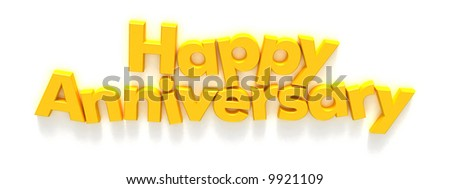 Happy Anniversary in yellow letter magnets on a neutral background