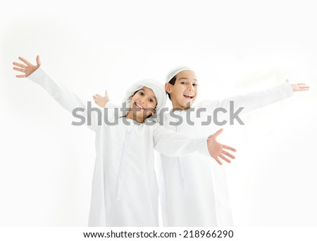 Happy Arabic family members - stock photo