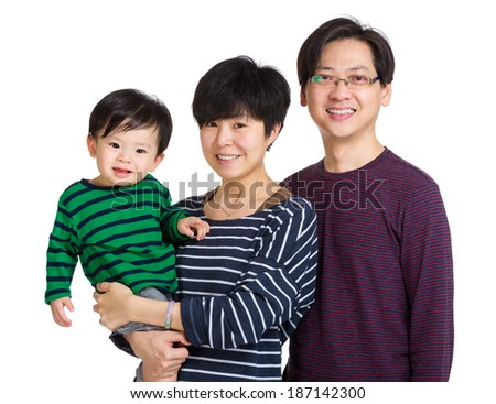 Happy asia family with baby boy - stock photo
