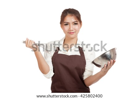 Happy Asian baker girl with whisk and bowl  isolated on white background