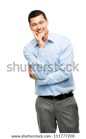 Happy Asian businessman portrait isolated on white background - stock photo