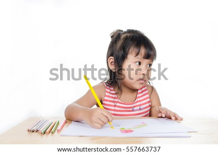 Happy Asian Child Paint Color On White Background