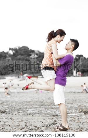 Happy asian couple - stock photo