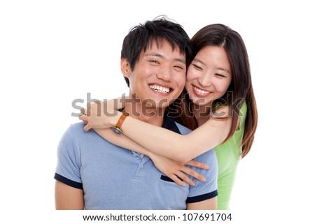 Happy asian couple isolated on white background. - stock photo