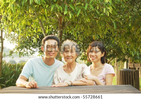 Happy asian family - stock photo