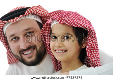 Happy asian family, father and son - stock photo