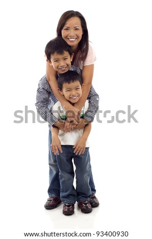 Happy Asian Family, Full length of a happy Asian mother hugging her two playful kids isolated over white background - stock photo