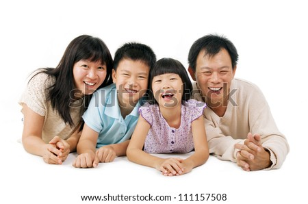 happy asian family isolated on white - stock photo