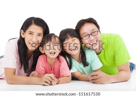 Happy  asian family isolated on white - stock photo