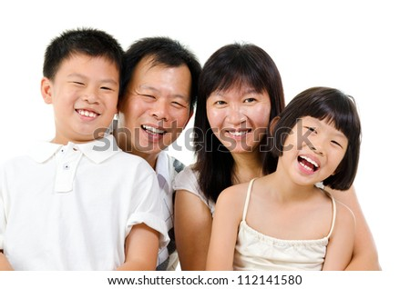 Happy Asian family laughing isolated on white background - stock photo
