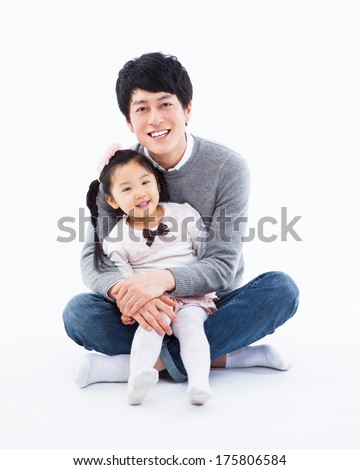 Happy Asian father and daugther isolated on white background.  - stock photo