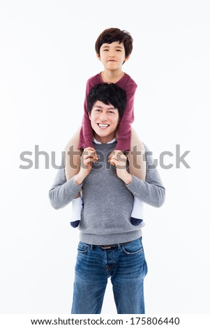 Happy Asian father and son isolated on white background.  - stock photo