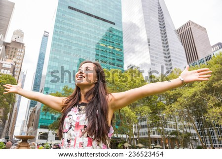 Happy Asian Girl at Park in New York - stock photo
