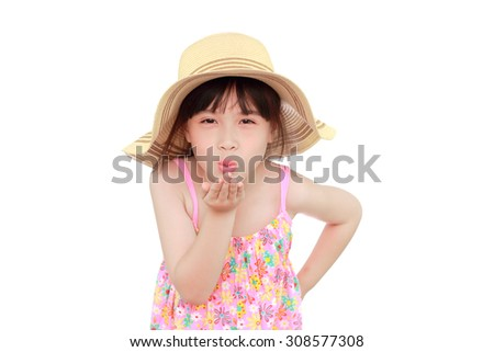 happy asian girl portrait on white background - stock photo