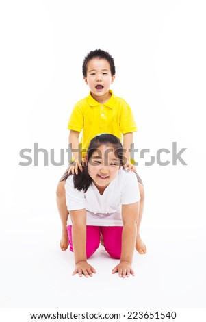 Happy Asian kids isolated on white.  - stock photo