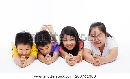 Happy Asian kids lying down  isolated on white backgound.