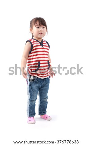 Happy asian little girl on white background