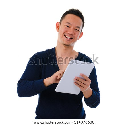 happy asian male on a generic tablet
