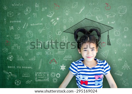 Happy Asian school child girl love heart shape hair on green board/ chalkboard background with freehand doodle: Smiling female little future children scholar on chalk blackboard backdrop drawing idea