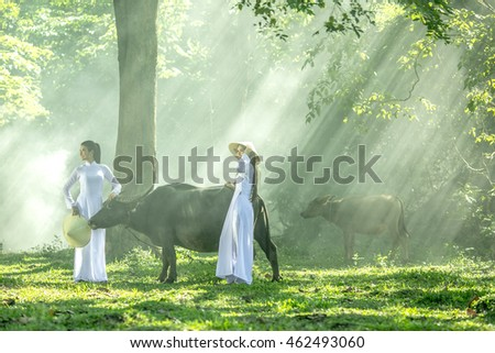 Happy Asian woman farmer with a buffalo in the field