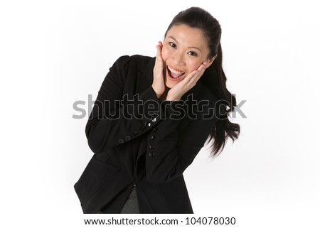 Happy Asian woman looking surprised and excited. Isolated on white - stock photo