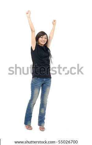 Happy asian woman with arms up isolated over white