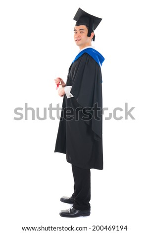 happy asian young male graduate with white background