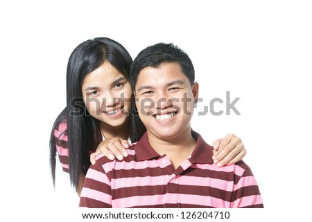 happy attractive asian couple isolated on white background