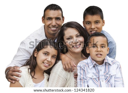 Happy Attractive Hispanic Family Portrait Isolated on a White Background.