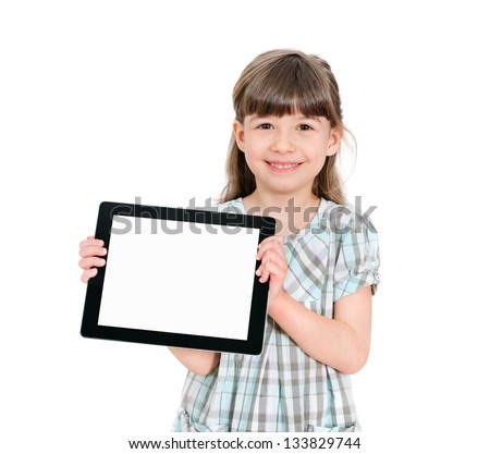 Happy attractive little girl holding a blank tablet up in her hands so that the blank screen with white copyspace is displayed towards the camera. Isolated on white. - stock photo