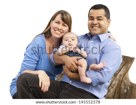 Happy Attractive Mixed Race Young Family Isolated on White. - stock photo