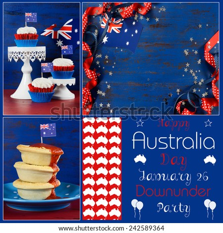 Happy Australia Day designer pack collage with three images of party food and background with sample text. - stock photo