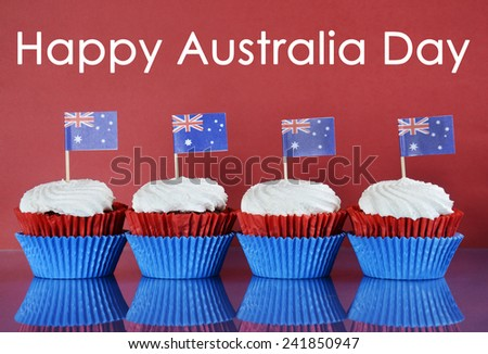 Happy Australia Day, January 26th, party food with red, white and blue cupcakes and Australian flags on red and blue background with sample text greeting.