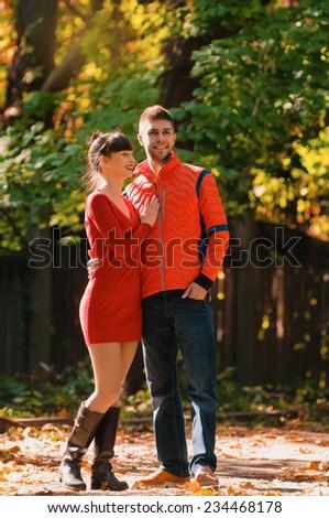 happy autumn couple in love portrait. outdoor. full length - stock photo