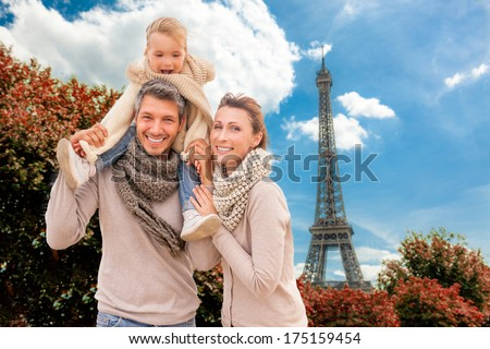 happy autumn spring vacations in city of love on valentine day - stock photo