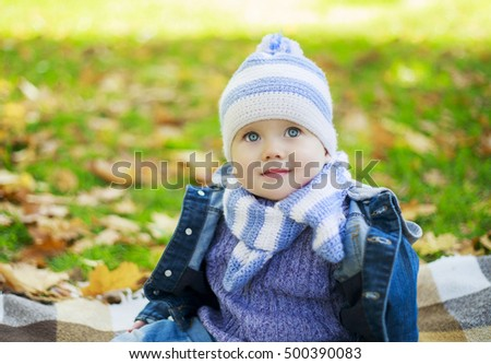 happy baby boy relaxing in the autumn park