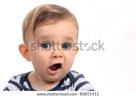 happy baby boy, studio photo session - stock photo