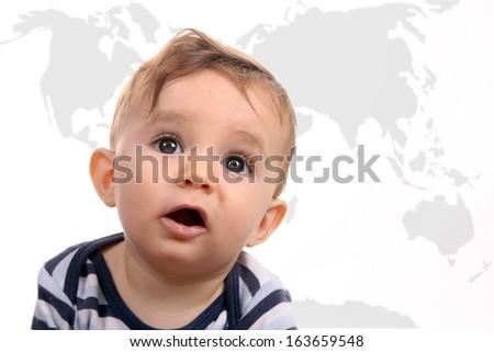 happy baby boy, studio photo session, world background - stock photo