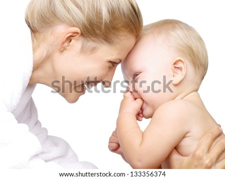 Happy baby boy with his mother. Isolated over white - stock photo