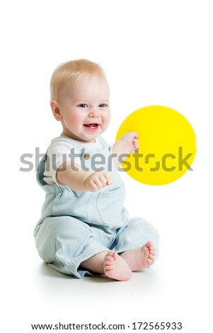 Happy baby boy with yellow ballon isolated on white