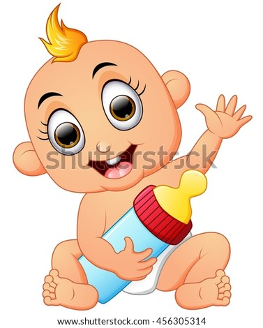 Happy Baby Cartoon Holding Milk Bottle Stock Vector ...