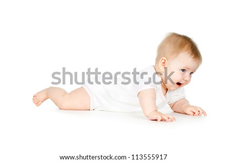 happy baby crawling on the floor