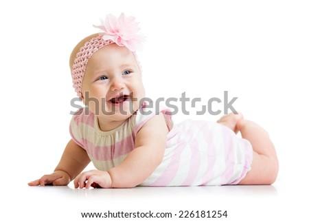 happy baby girl isolated on white background - stock photo