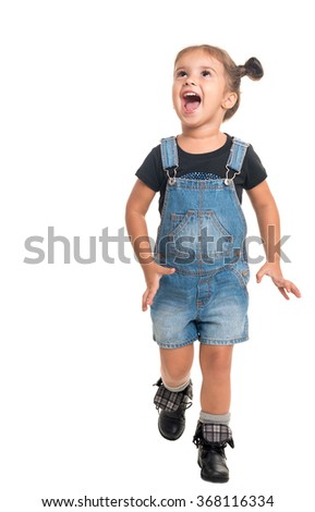 Happy baby girl looking up and laughing on white background  - stock photo