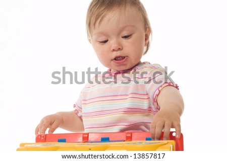 happy baby girl on white background