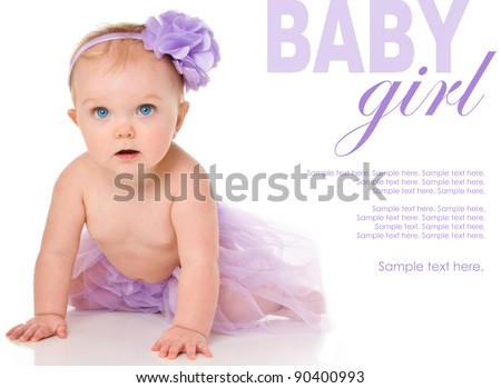 Happy Baby Girl wearing a tutu with Text Space to the right - stock photo