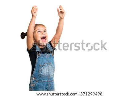 Happy baby girl  with hands up on white background with copyspace - stock photo