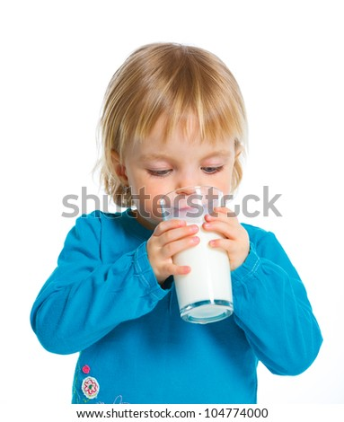 Happy baby girl with milk mustache, isolated on white.