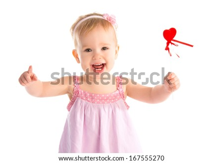 Happy baby girl with red heart isolated on white background - stock photo