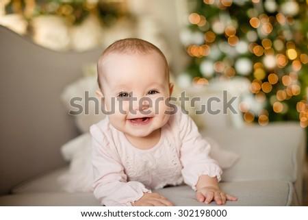 happy baby little girl Christmas theme - stock photo